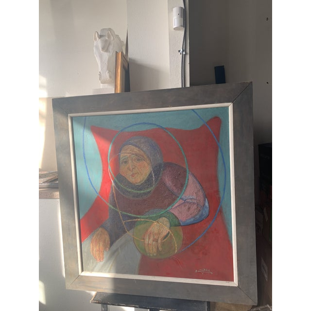 1964 Italian Modernist Portrait Painting, Framed For Sale In Seattle - Image 6 of 9