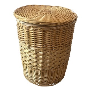 Vintage Large Wicker Basket With Lid