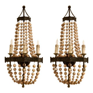 Regina Andrew Organic Modern Scalloped Wood Beaded Sconces Pair For Sale