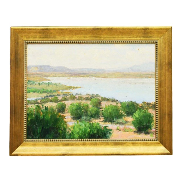 Framed New Mexico Landscape Desert and River Oil Painting by Don Ward For Sale