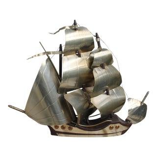 1920s Vintage French Art Deco Maison Bagues Aluminum & Wood Boat Lamp For Sale