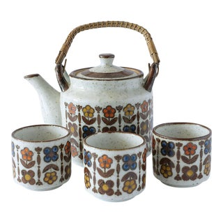 Flower Design Otagiri Japan Tea Service - 4 Pc Set For Sale