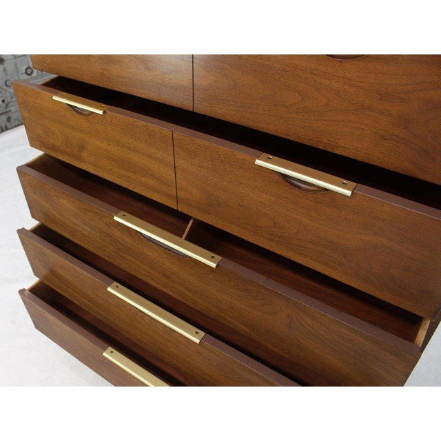 Five Drawers Walnut High Chest Dresser For Sale - Image 10 of 11