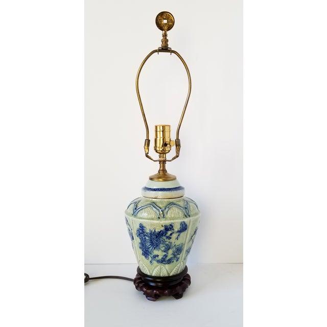 Antique Chinese Celadon Ginger Jar Lamp For Sale - Image 9 of 9