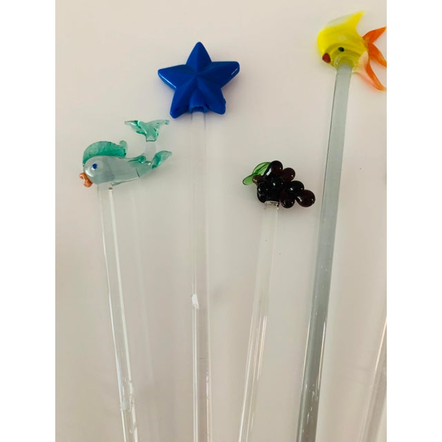 Mid 20th Century Vintage Art Glass Tropical Animals Fish Assorted Swizzle Sticks - Set of 10 For Sale - Image 5 of 12