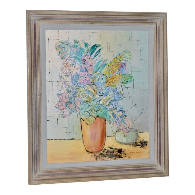 """Marguerite Daniel """"Floral Still Life"""" Original Oil Painting C.1960s For Sale"""