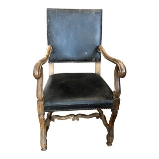 Hand Carved Leather Spanish Side Chair