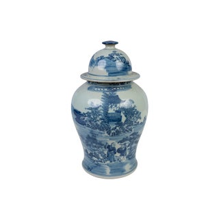 Blue and White Landscape Motif Porcelain Ginger Jar For Sale