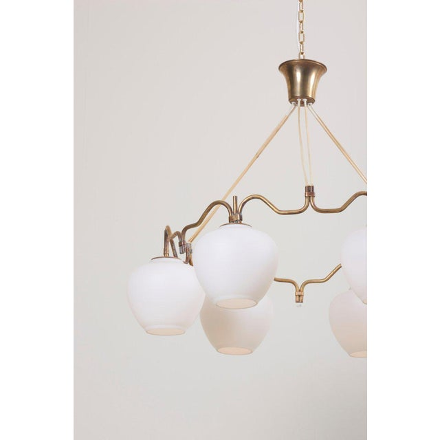 Six Shade Chandelier by Bent Karlby for Lyfa, Denmark, 1950s For Sale - Image 6 of 10