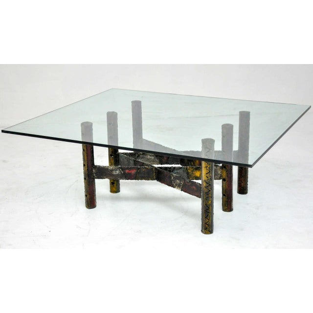 "Rare Paul Evans welded steel coffee table. Signed ""PE 67."""