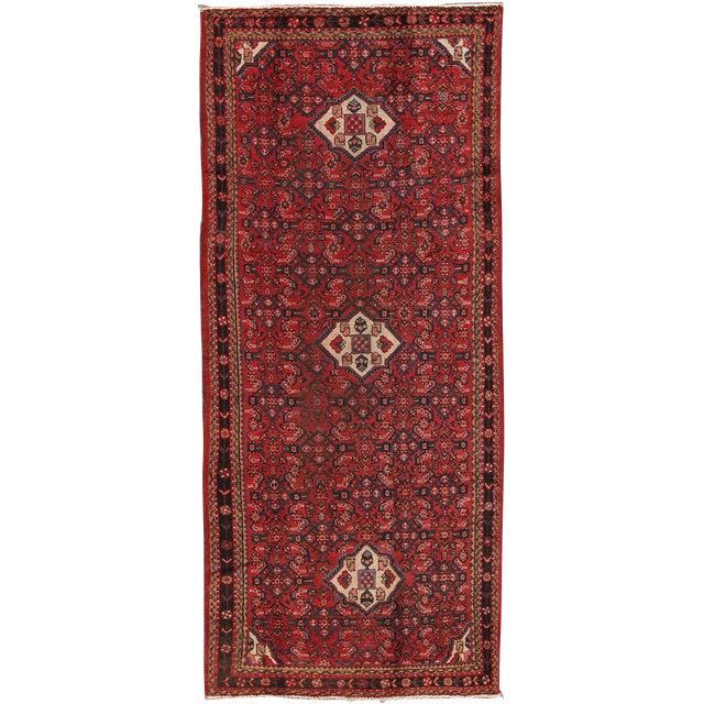 """Vintage Hamadan Wool Area Rug - 4'2"""" X 10'2"""" - Image 1 of 3"""