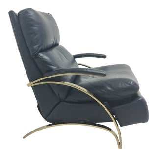 1980s Navy Blue Leather and Brass Recliner For Sale