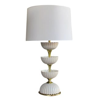 A chic American mid-century ceramic 'Lotus' lamp by Gerald Thurston for Lightolier