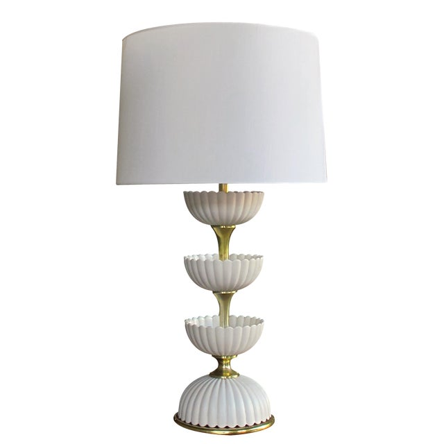 A Chic American Mid-Century Ceramic 'Lotus' Lamp by Gerald Thurston for Lightolier For Sale