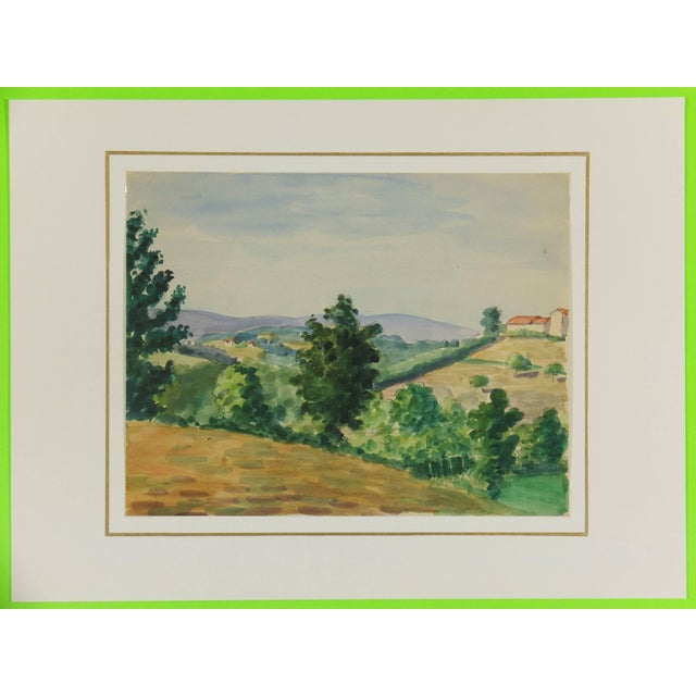 Traditional Watercolor Country Landscape, C. 1950 For Sale - Image 3 of 4