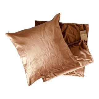 West Elm Luster Velvet Blush Pink Velvet Pillow For Sale