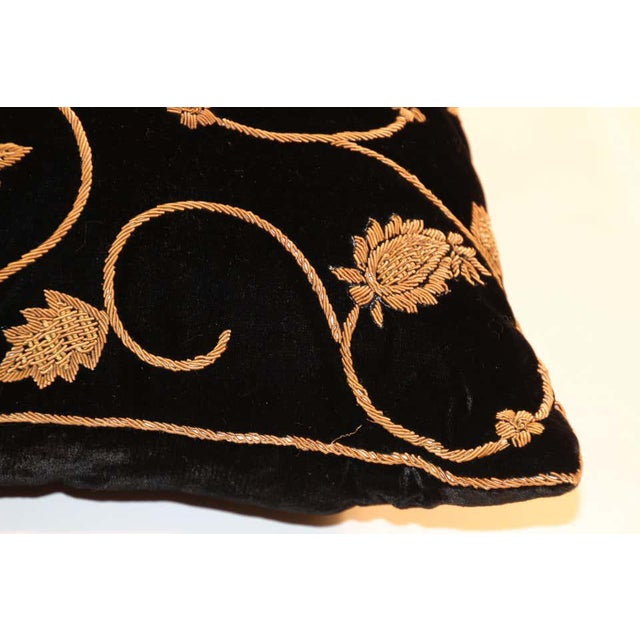 Black Silk Velvet Throw Pillow Embroidered with Gold Design For Sale - Image 9 of 11