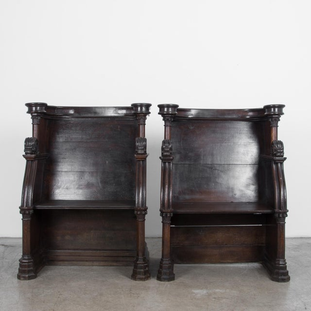 Two elegantly carved church benches from France, circa 1880. High quality construction in oak, with a traditional French...