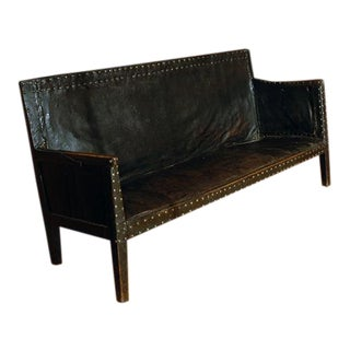Mid 19th Century English Leather Sofa For Sale