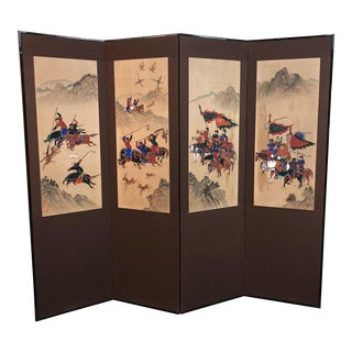 Vintage Hand Painted Korean Screen