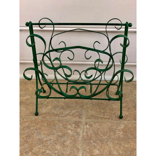 Vintage wrought iron magazine rack in green with lovely scrolling designs. Heavy, sturdy and fabulous! Magazine holders...