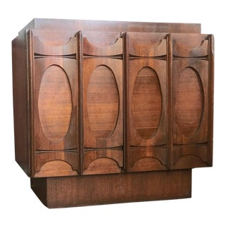 1960s Mid-Century Modern Sculpted Walnut Media Console Table For Sale