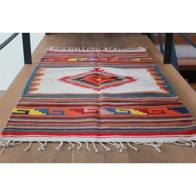 Traditional Sarape Wool Rug - Image 5 of 6