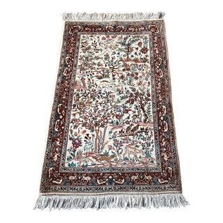 Enchanted Forest Vintage Mid-Century Persian Tabriz Handwoven Rug - 3′3″ × 5′ For Sale