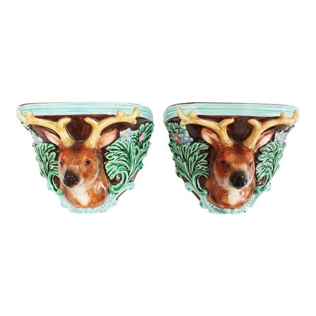 Vintage Takahashi Porcelain Corbel Shelves- Pair of Black Forest Ceramic Deer For Sale