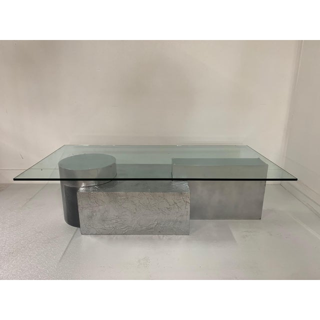 Silver Three-Piece Geometrical Coffee Table For Sale - Image 8 of 8