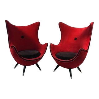 Exceptional Pair of Modernist Red/black Lounge Chairs Attributed to Jean Royere For Sale