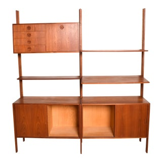 Mid-Century Danish Modern Teak Wall Unit For Sale