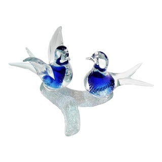 1960s Vintage Murano Pair Glass Birds Perched on a Branch -- Venetian Italian Mid Century Modern Boho Chic Hollywood Regency Tropical