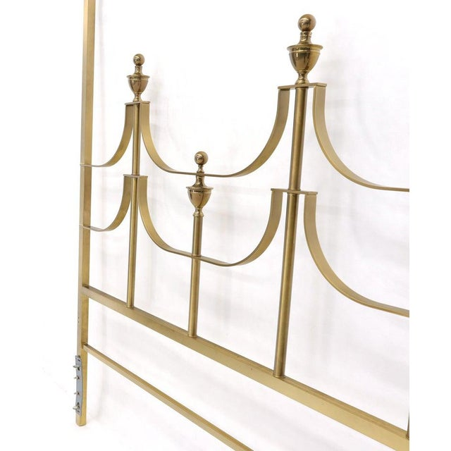 Solid Brass Mastercraft King Size Tall Headboard Bed For Sale - Image 9 of 10