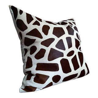 Gambrell Renard Giraffe Print Cowhide Pillow For Sale