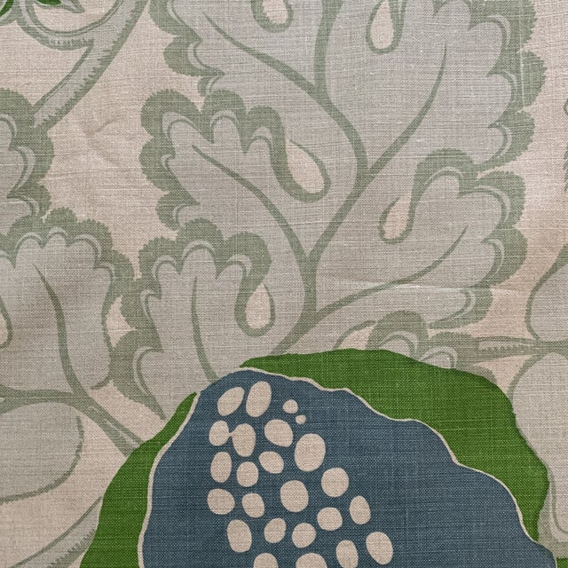 Christopher Farr Carnival Linen Fabric in Green and Blue -2 1/2 Yards For Sale - Image 9 of 10