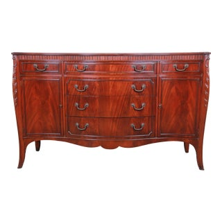 Flame Mahogany French Carved Bow Front Sideboard Credenza by Drexel For Sale