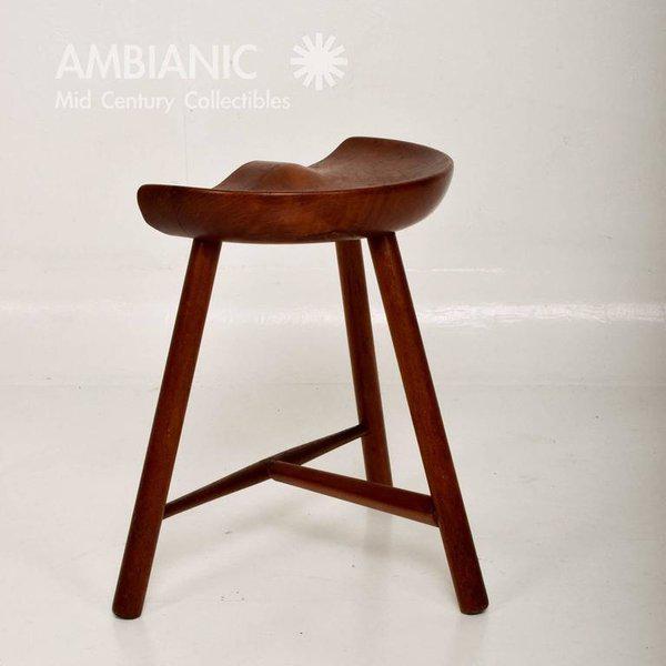 Mid-Century Danish Modern Solid Teak Stool For Sale - Image 10 of 10