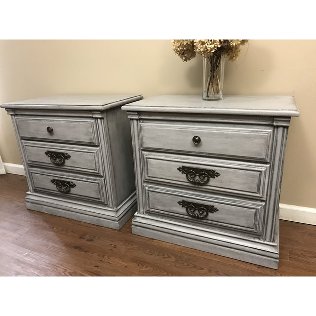 Light Grey Glazed Nightstands - Pair For Sale - Image 4 of 7