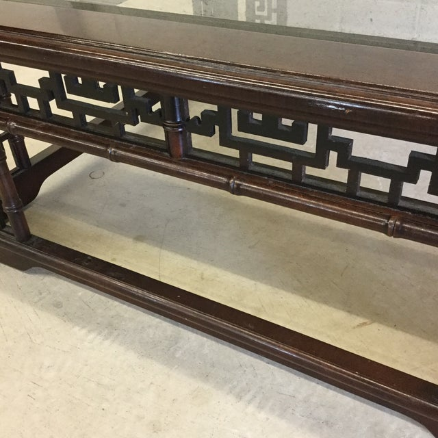 1970s Mahogany Asian Style Glass Top Coffee Table For Sale - Image 5 of 10