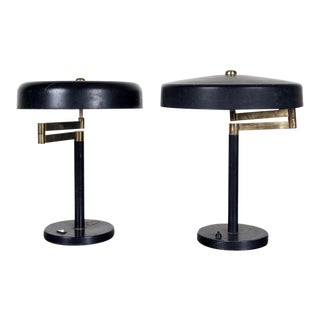 Painted Iron Table Lamps- a Pair For Sale