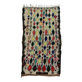 Vintage Moroccan Azilal Rug, Tribal Style Moroccan Area Rug, 04'11 X 08'03 For Sale