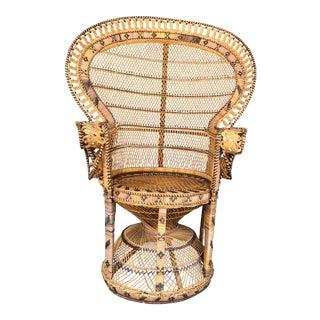 Vintage Boho Wicker Peacock Chair