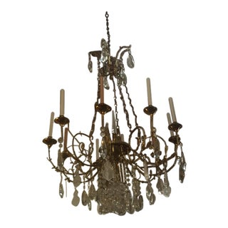 Gold and Crystal Chandalier For Sale