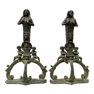 Pair of Early to Mid 19th Century Cast Iron French Andirons For Sale