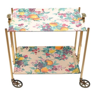 1950s Textable French Mid-Century Modern Brass & Laminate Serving Cart For Sale
