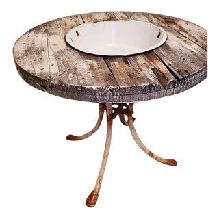 Antique Rustic Farmhouse Bowl Table For Sale