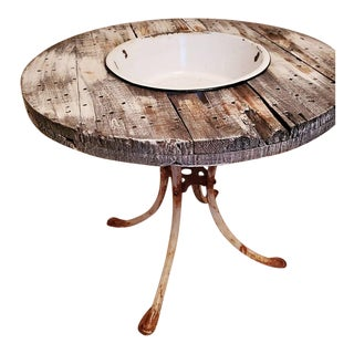 Rustic Farmhouse Bowl Table For Sale