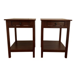 Arts & Crafts Borkholder Furniture Solid Cherry Classic 1-Drawer Nightstands - a Pair For Sale
