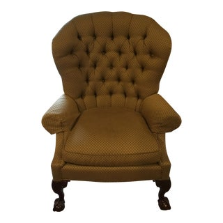 1990s Vintage Century Furniture Tufted Ball & Claw Wingback Chair For Sale